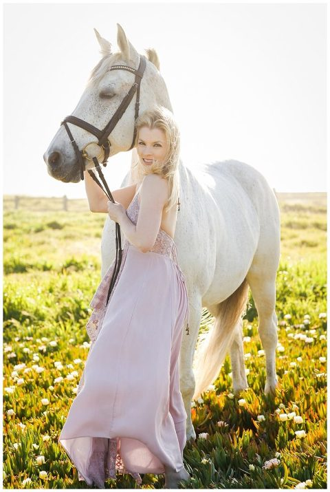 White horse and white woman